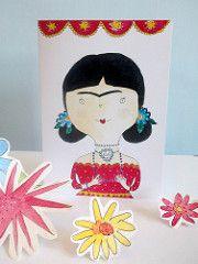 Frida en la tarjeta de felicitación roja (Heidi M Mcdonald) Etiquetas: acuarela arte popular mexicano Frida Kahlo fiesta ilustraciones brightcolours greetingcards sugarskull littlenore fridakahlandcupcakes fridakahlogreetingcards drawingoffrida