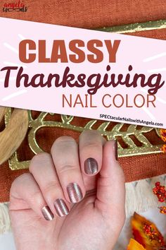 Are you looking for the perfect go-to design for your next manicure? Feast your eyes on Gratitude is Everything, a muted metallic medium brown shade. Get salon perfect holiday nails at home with Color Street! #fallnaildesign #easynaildesign #colorstreetnails #thanksgiving #thanksgivingnaildesign