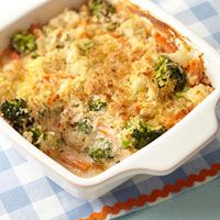 A healthier version of delicious Cheesy Vegetable Bake from Diabetic Living.