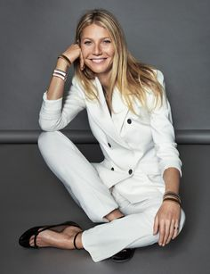 Gwyneth Paltrow wears Boss suit with Valentino ballerina flats. Photo: Xavi Gordo