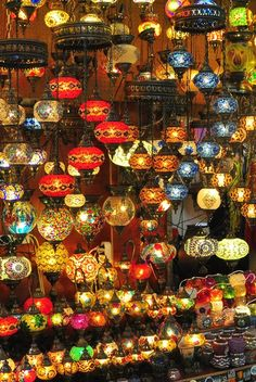 A stall filled with colourful lanterns sets Istanbul's Grand Bazaar aglow.