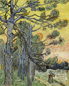 Vincent van Gogh / Pine Trees with Setting Sun, 1889
