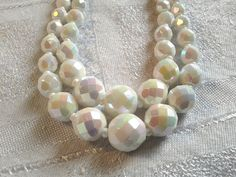 Vintage 50s Double Strand, White AB, Faceted Glass Bead Necklace. by GothiqueGirl on Etsy