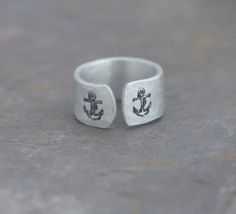 hand stamped ring - Double anchor ring - hand stamped textured ring - anchors