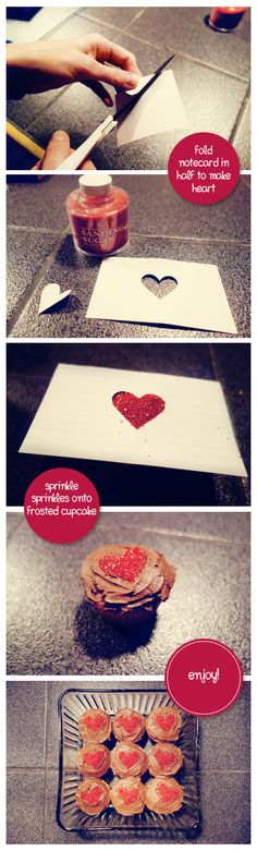 Make generic cupcakes your own by adding valentines day sprinkle hearts. Perfect for your Valentines Day sweetheart- or your coworkers. Holiday Crafts, Holiday Recipes, Holiday Ideas, Cupcake Cookies, Cupcakes, Holiday Cocktails, Be My Valentine, Craft Items, Sprinkles