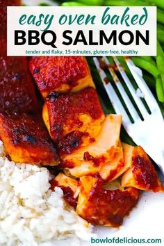 This oven baked bbq salmon recipe cooks up to flaky, tender perfection under the broiler in only 10 minutes, smothered in a thick, sticky layer of charred barbecue sauce! This easy 15-minute bbq salmon recipe will be your new favorite gluten-free pescatarian weeknight dinner.