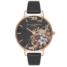 Olivia Burton Marble Floral Black   Rose Gold Floral is a beautiful and  eye-catching Ladies watch. Material of the case is PVD rose plating while  the dial ... e477db3c43317