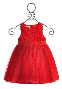 RED Mud Pie CHRISTMAS Holiday Baby Girl Toddler Red Rosette Party Dress NEW