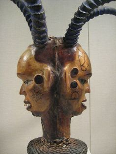 Janus-Faced Headdress  Nigeria, Lower Cross River, Ejagham peoples, Akparabong clan 19th - 20th century Wood, skin, paint, basketry
