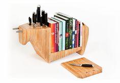 Toro legno kitchen bull: knife block, cheeseboard, bookshelf