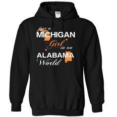 (MIJustCam002) Just A Michigan Girl In A Alabama World - #tshirt necklace #sweatshirt cardigan. PRICE CUT => https://www.sunfrog.com/Valentines/-28MIJustCam002-29-Just-A-Michigan-Girl-In-A-Alabama-World-Black-Hoodie.html?68278