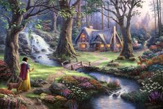 #Snow White and 7 Dwarfs, #Snow-White and seven dwarves, #Snow White discovers the cottage, #50-th anniversary, #The Disney dreams collection, #fairytale, #fairy tale, #waterfall, #reindeer, #sunshine, #river, #fantasy, #bridge, #night, #princess, #Disney, #Thomas kinkade, #House, #trees, #flowers, #art, #castle