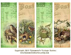 Ephemera's Vintage Garden: Weekly Freebie: Bird Nests Bookmarks