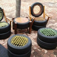 Chairs with ottomans & a table made with tires
