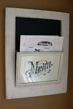 Old cabinet door + Cheap picture frame = Menu Board/ToGo Menu Holder...Mail Holder...Coupon and Sales Add holder...possibilities are endless!