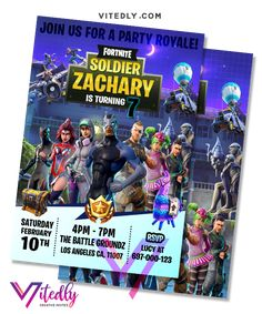 Fortnite Invitation Season Digital Files will be delivered within or less! FREE Thank you card included! 7th Birthday Party Ideas, Birthday Parties, Digital Invitations, Birthday Invitations, Free Thank You Cards, Season 4, Your Cards, Birthdays, File Format