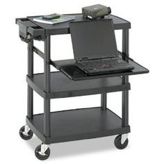Amp up your presentation with multimedia! The projector cart has an ideal height for multimedia and laptops. Includes a height-adjustable pullout steel shelf and UL approved electrical assembly with surge protector. Three 24 shelves make sto Black Furniture, Office Furniture, Furniture Storage, Multimedia, Craft Storage Cart, Storage Shelves, Shelving, Projector Stand, Computer Cart