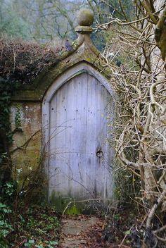 Wood door in rock fence