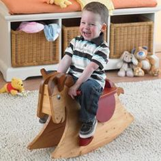Quick and Easy Rocking Horse Woodworking Plan from WOOD Magazine Childrens Rocking Horse, Rocking Horse Plans, Rocking Horses, Woodworking Desk Plans, Woodworking Projects For Kids, Woodworking Furniture, Bandsaw Projects, Sketchup Woodworking, Woodworking Apron