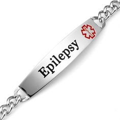 Epilepsy Curb Link Stainless Steel Medical Id Bracelet With 1 5 Inch Plaque Seizure Disorder
