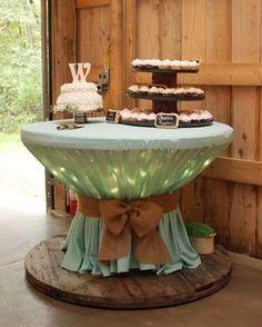 Bom dia com essa ideia linda para festas com carretel de madeira. Essa foi para um casamento! Iai gostaram? #ideiasdiferentes #referencia Imagem via jenniferscrapshack.blogspot.com.br