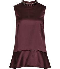 Womens Deep Bordeaux Embellished Top - Reiss Acorn
