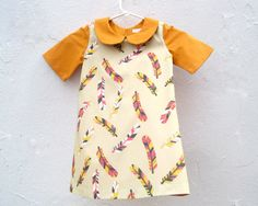 The Wren Dress - Eco-Friendly Girls Feathers Dress in Orange and Camel - Fall Winter Holidays Fashion (MADE TO ORDER Sizes 2T 3T 4T 5T 6T) via Etsy
