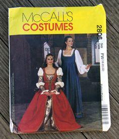 UNCUT FF McCall's Pattern 2806 Womens Plus Size Renaissance Dress Costume, Size 18, 20, 22W