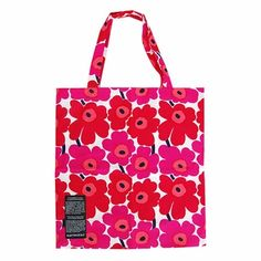 Be eco-friendly in more ways than one by using this bag, made out of Marimekko's leftover fabric, as a reusable market tote - Marimekko Mini Unikko Silver Medal Bag - $25.00