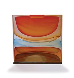 Jamie Harris <i>Infusion Block in Orange, Gold, Blue, and Cherry</i>, 2014; 12 1/2 X 4 X 14 inches; Blown and solid-worked, kiln-cast, cold-worked glass