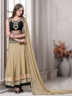 Black and Beige Georgette Anarkali Suit with Embroidery Work
