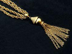 Old statement necklace-1980's couture necklace-vintage kramer necklace-80's goldtone tassle necklace-brutalist necklace-modernist jewelry by BECKSRELICS on Etsy