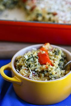 "Cheesy quinoa, spinach and red pepper casserole.  A ""one-pot"" casserole - the veggies, grain and sauce all cooked together in one pot, then baked.  And somehow a splash of Frank's Buffalo Sauce just makes the dish."