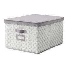 IKEA - SVIRA, Kasse med låg, grå/hvid blomster, 39x48x28 cm, , Nem at trække ud, fordi boksen har håndtag på begge sider.Etiketholder på siden hjælper dig med at organisere og finde dine ting.