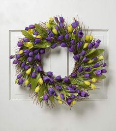 Blooming Spring 22'' Crocus Twig Wreath-Purple & Yellow