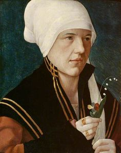 A Woman Holding a Lily-of-the-Valley and a Pansy Marx Reichlich 1464–1538 Nationality: Austrian