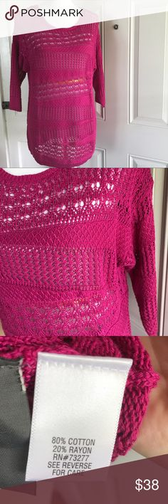 🆕Dana Buchman open-work scoopneck sweater NWT. Look stylish in this women's Dana Buchman sweater. Features an open-work design, scoopneck, and 3/4 sleeves. Size large. Extra thread included. Color is jazzy pink (which looks like a fuchsia color in my opinion). Dana Buchman Sweaters Crew & Scoop Necks