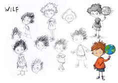 Here are my character designs for the hero (albeit, slightly worried hero…) of Wilf the Mighty Worrier: Wilf! His straight, spiky hair was a bit of a late addition, but it's so fun to draw his hair now, I think it was the right one.