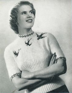 FREE Vintage 1950s Jumper with Flying Swallows (Birds) Knitting Pattern / Tutorial