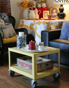 The New Rolling Cart Coffee Table · Cozy Little House Cottage Living, Cozy Cottage, Cozy House, Living Room, Upcycled Furniture, Painted Furniture, Cart Coffee Table, Flea Market Decorating, Room Ideas
