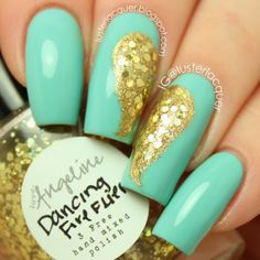 Mint and sparkly angel wings! #love #nailart Mint with gold and gold glitter