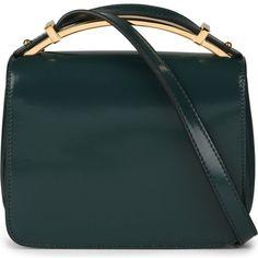 MARNI Sculpture patent leather bag ($955) ❤ liked on Polyvore featuring bags, handbags, purses, dark sea green, green bags, marni handbag, patent leather purse, green handbags and marni bag