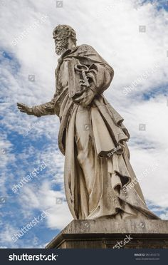 The sculpture of the Apostle Peter in front of the Basilica of St. John the Apostle and Evangelist, St. Michael and the Immaculate Conception in the city of Eger. Hungary Travel, Immaculate Conception, Photo Editing, Royalty Free Stock Photos, Sculpture, Statue, St Michael, Spas, City