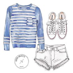 Good objects - Striped essentials by @illedecoco #goodobjects #illustration #watercolor