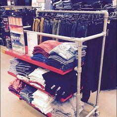 Asymmetric Industrial Pipe Apparel Rack Cantilever Shelf, Pipe Rack, Industrial Pipe, Wardrobe Rack, Retail, Packaging, Shelves, Display, Diy