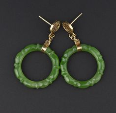 Long Natural Jade Hoop 14K Gold Earrings #Natural #Earrings #14K #Jade #Gold #Braided #Mid #Cuff #Engagement #Muff