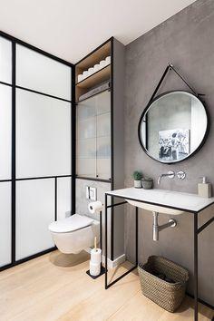 20 lindos banheiros com espelho redondo para você se inspirar