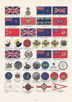 British Colonial Flags, Vintage Illustration, Colonies, India, Africa, World War I Era, 1917, Patriotic. via Etsy.