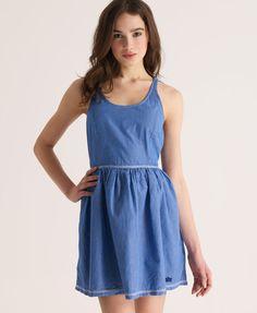 Neues Damen Superdry City Racer Kleid Vintage Blue Mini Stripe Blau