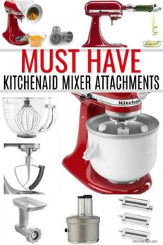 If you have a Kitchenaid mixer, find out the best Kitchenaid Mixer Attachments. Make life easier with these handy attachments you need to have! Kitchen Aid Recipes, Kitchen Gadgets, Kitchen Tools, Kitchen Aide, Cooking Gadgets, Cooking Tools, Enchiladas, Kitchen Styling, Kitchen Decor